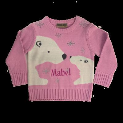 Babies pink polar bear jumper
