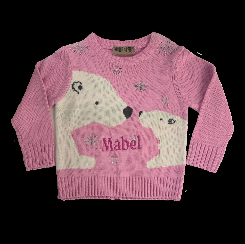 Adult personalised pink polar bear Christmas jumper