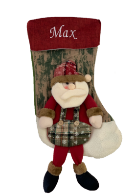 Personalised red Santa Clause 3D Stocking