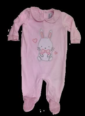 Pink velour bunny baby grow
