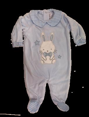 Blue velour bunny baby grow