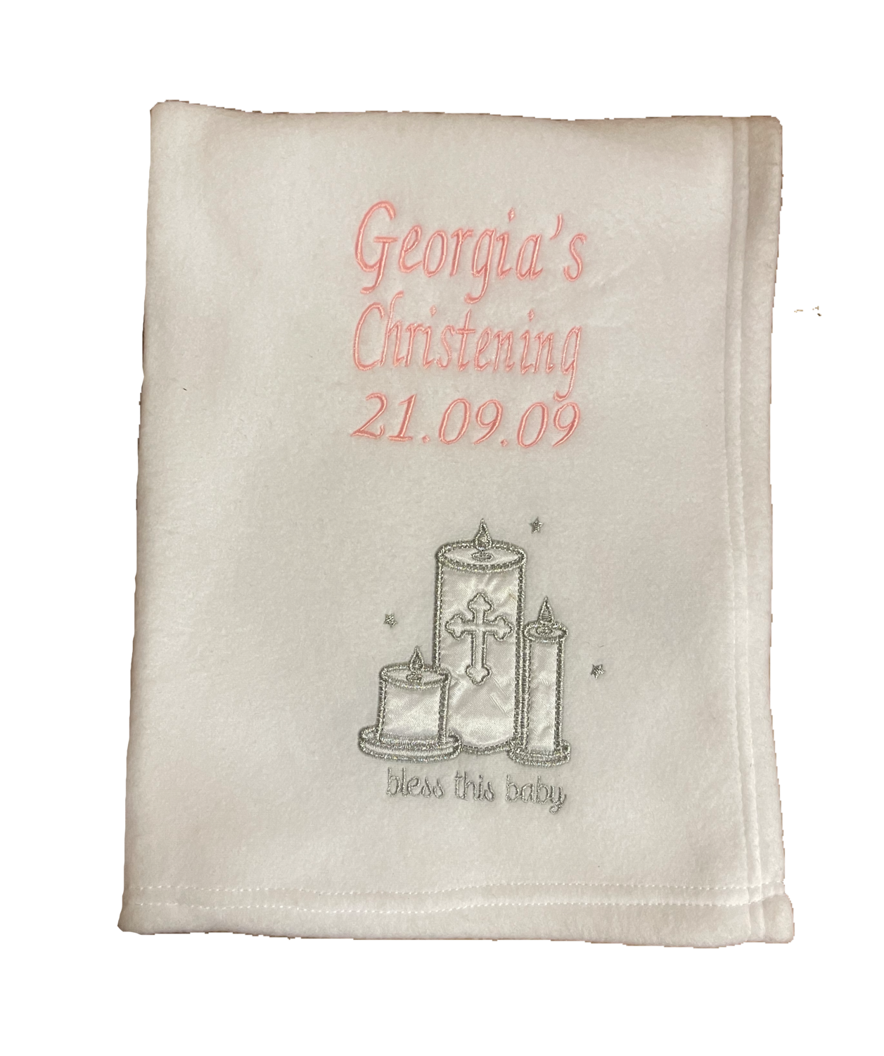 Christening blanket with candles