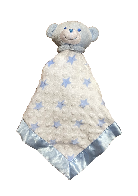 Blue Teddy star satin edge teddy comforter