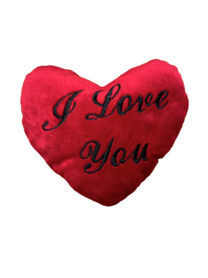 Large I love you pillow red and black