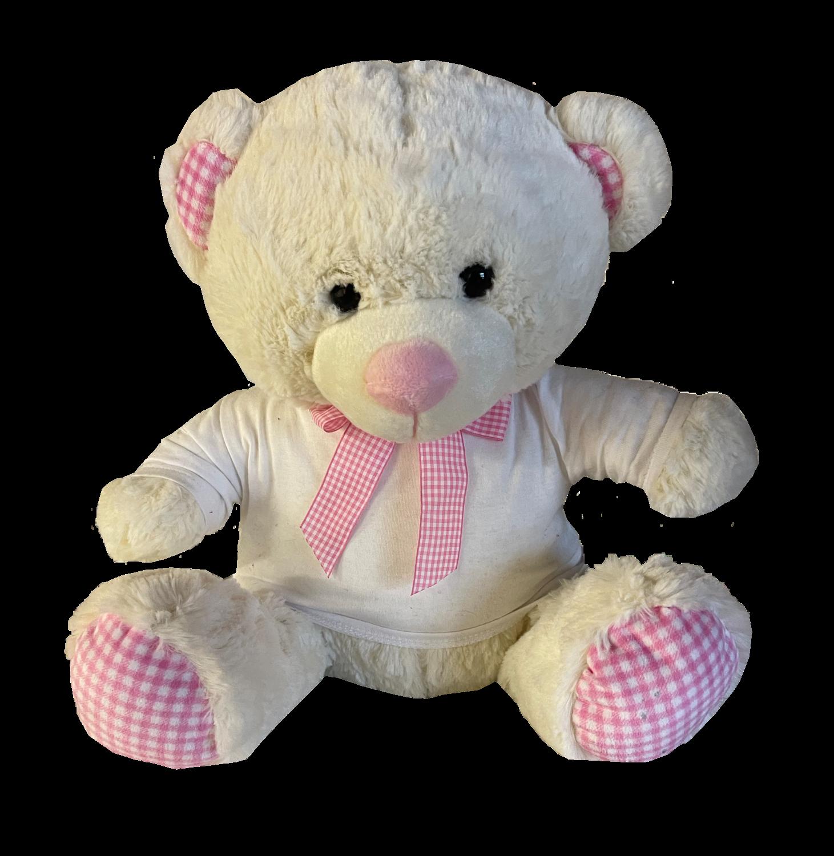 Large Pink gingham teddy bear