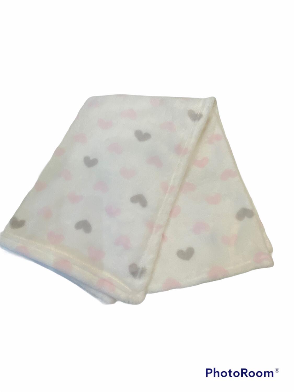 Pink & Grey Heart Blanket