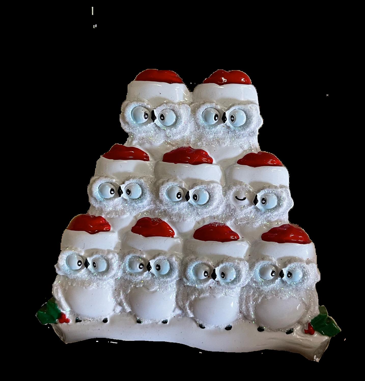 Owl family of nine ornament