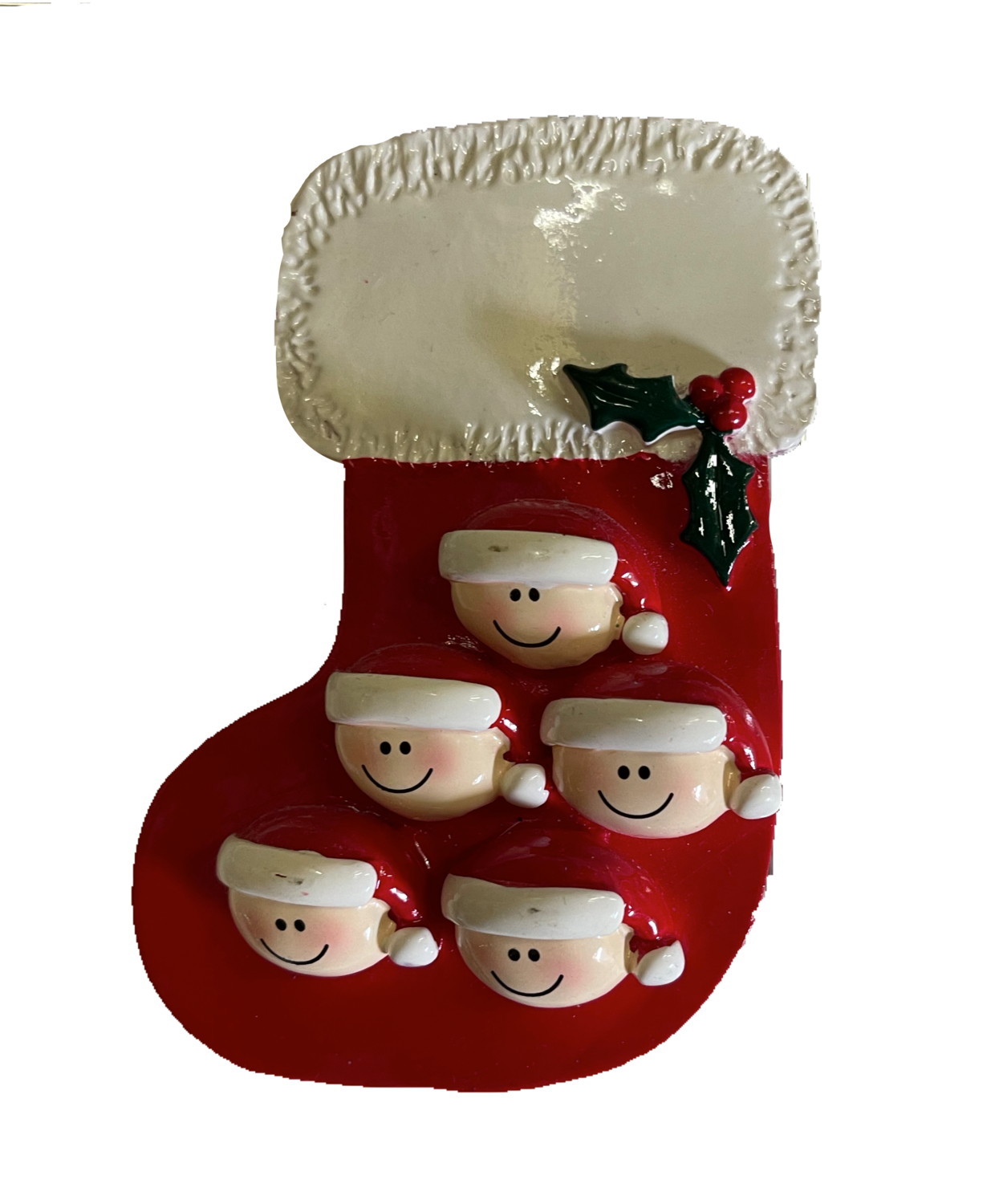 stocking family of five ornament