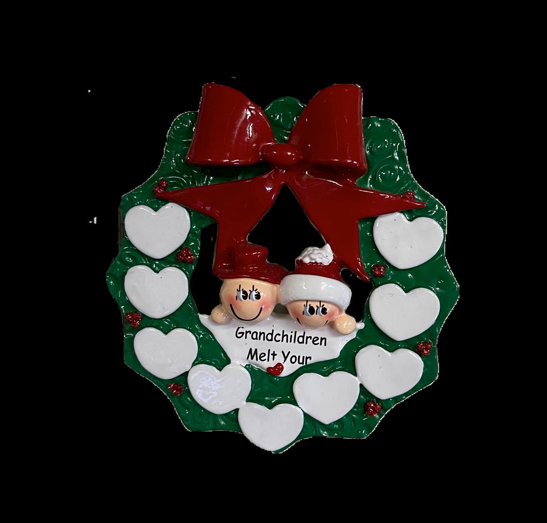 Grand Kids melt your heart family of nine Christmas tree ornament