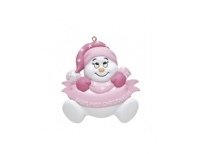Pink babies first christmas snow man ornament