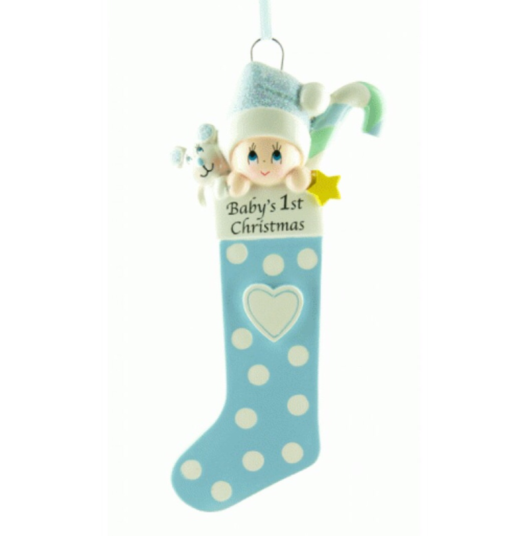 Babies first Christmas blue stocking tree ornament