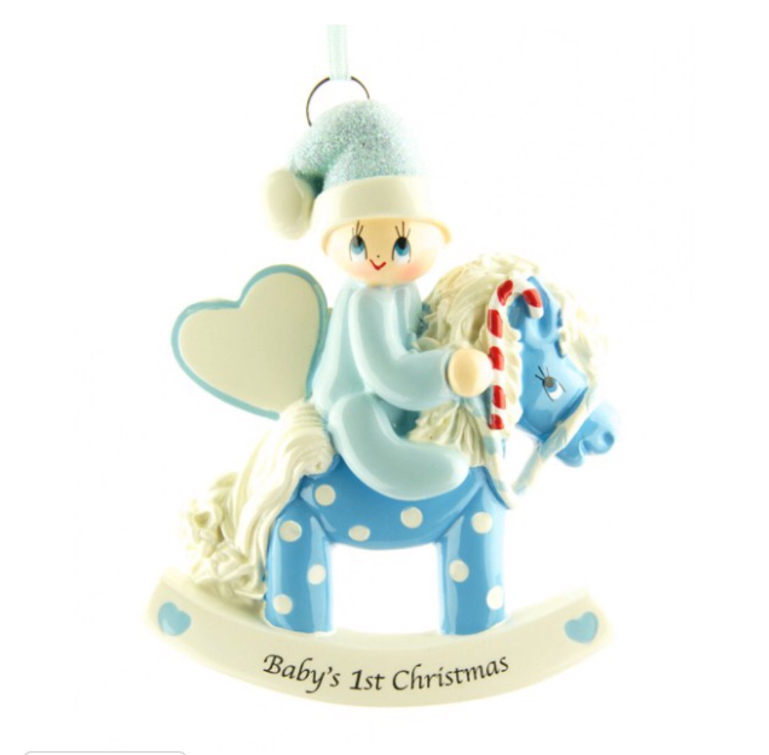 Blue babies first Christmas Rockinghorse ornament