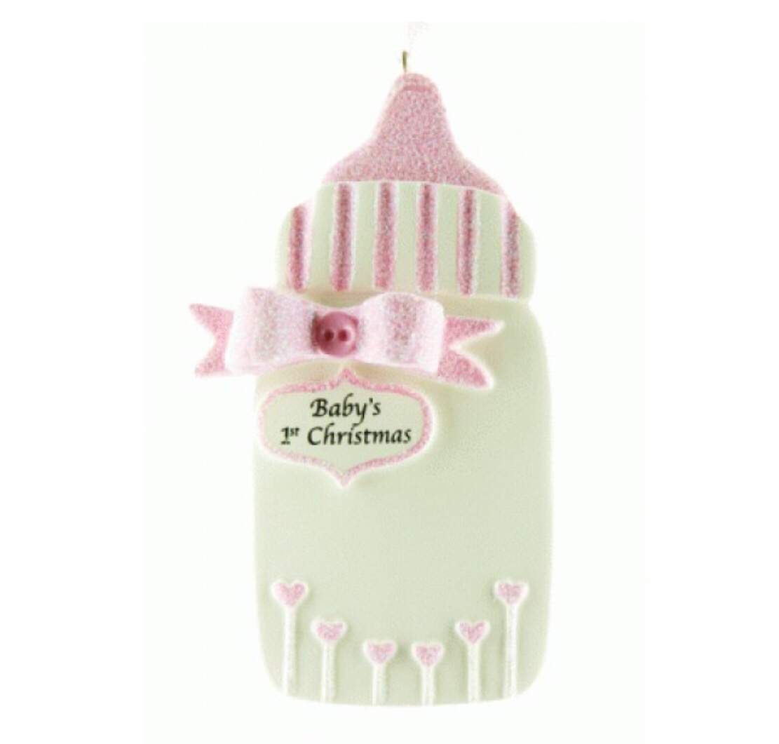 Babies first Christmas pink bottle ornament