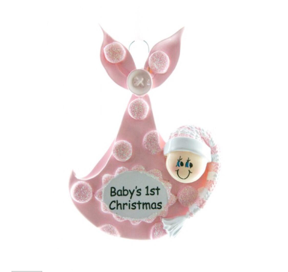 Pink baby bundle ornament