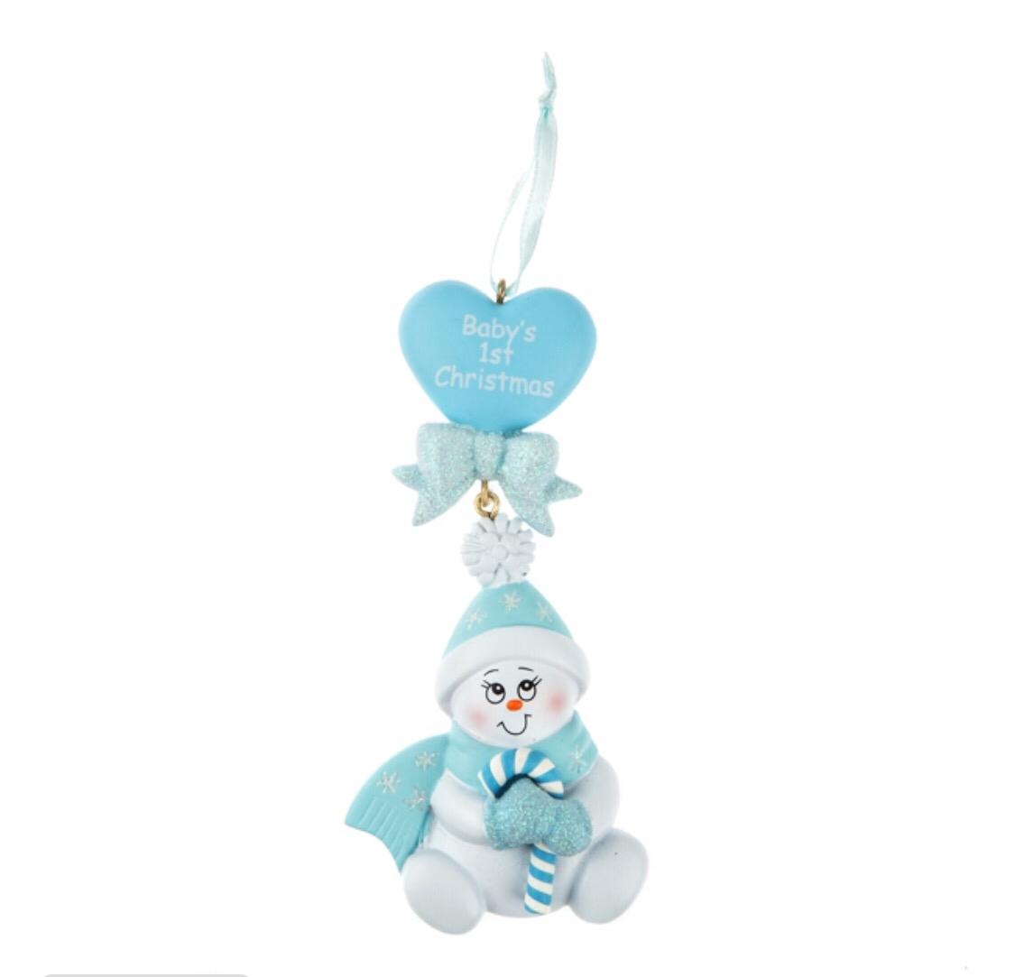 Blue baby heart snowman ornament