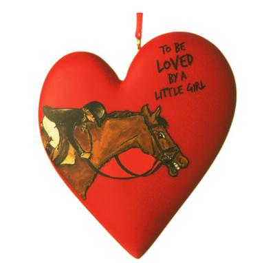 Little girl horse ornament