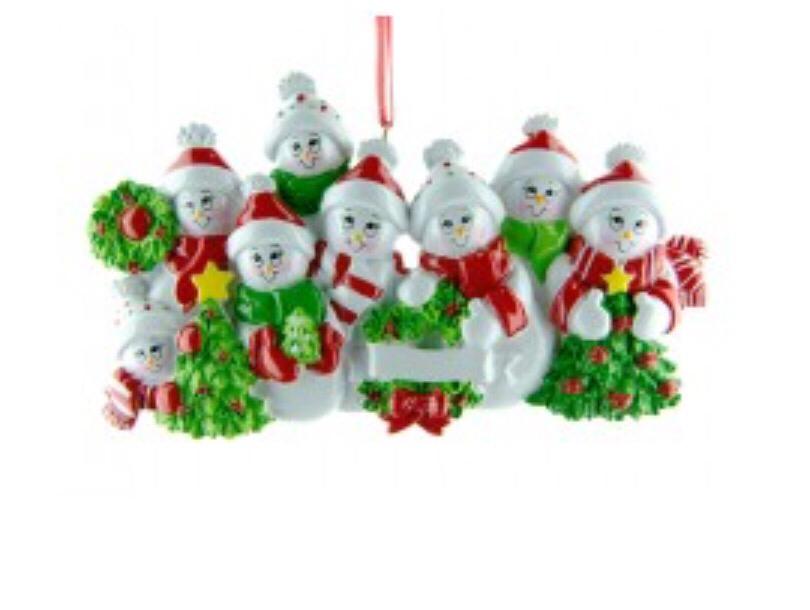 Snow family of seven ornament
