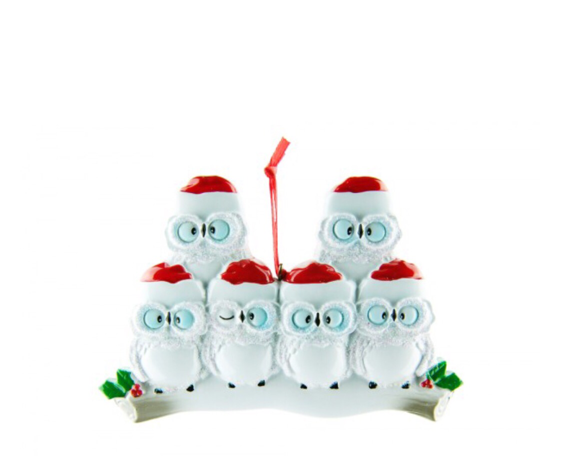 Owl family of five ornament