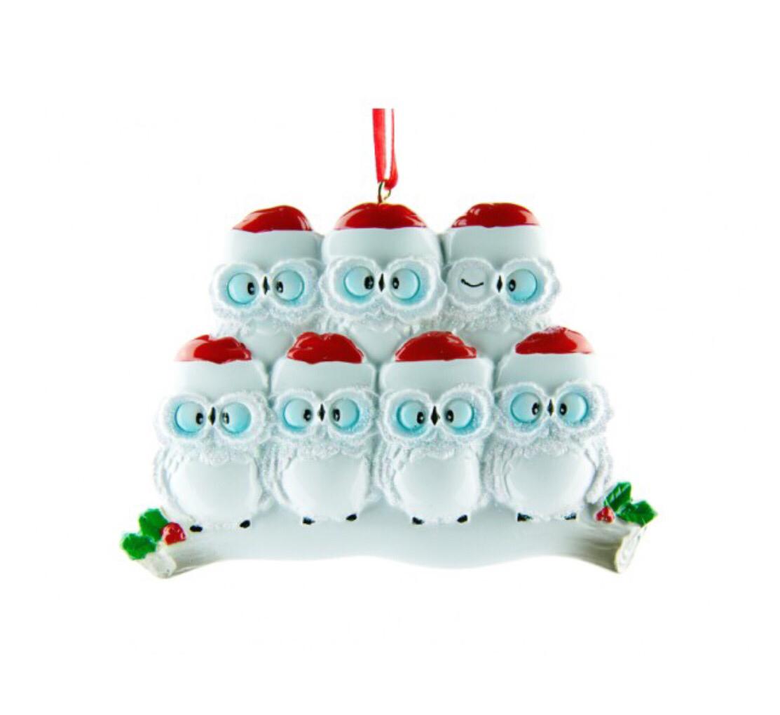 Owl family of seven ornament