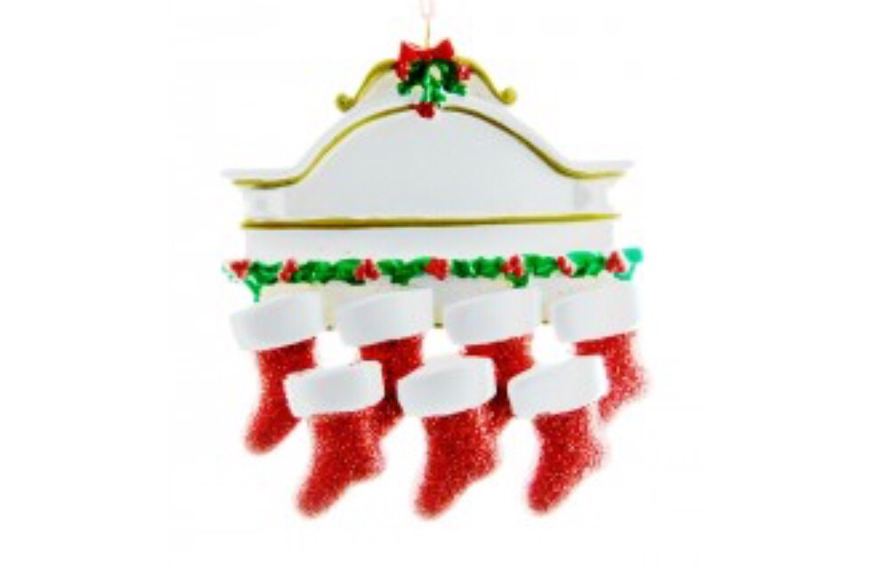 Family of Six stocking mantle ornament