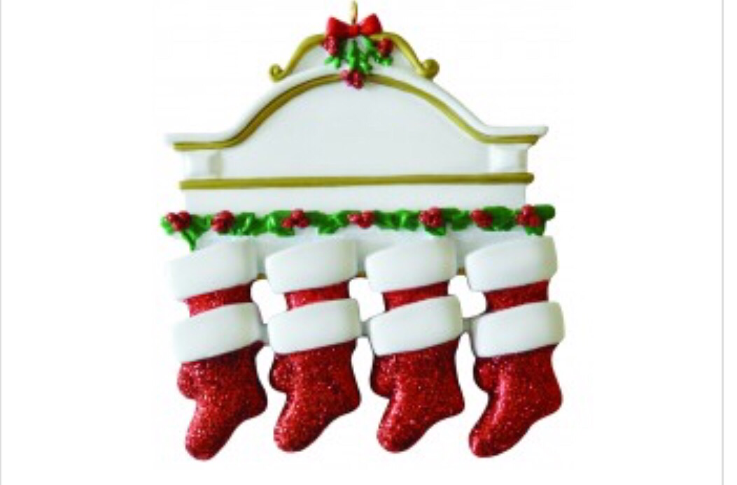 Family of nine stocking mantel ornament
