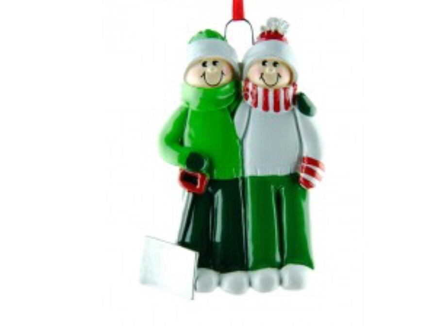 Couple snow shovel ornament