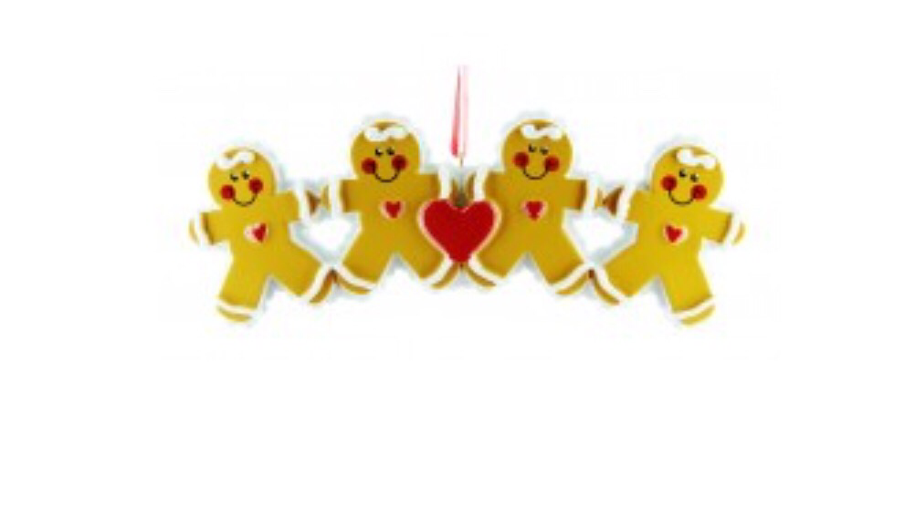 Gingerbread family of four ornament