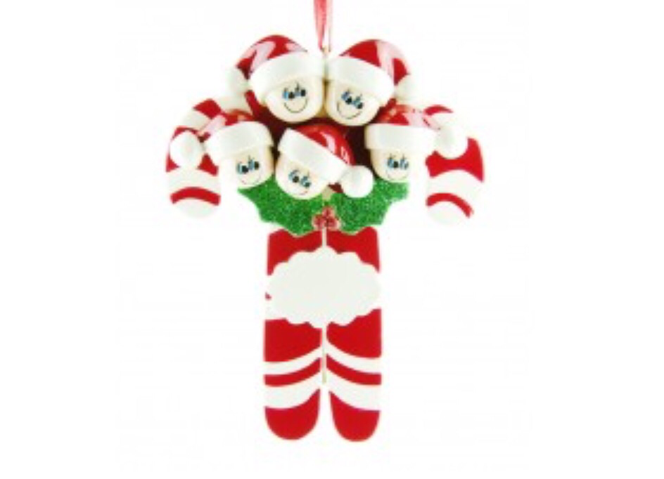 Candycane family of five ornament