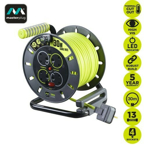 Masterplug 30M Pro-XT Open Reel Portable Extension Cable OMU30134SL-PX