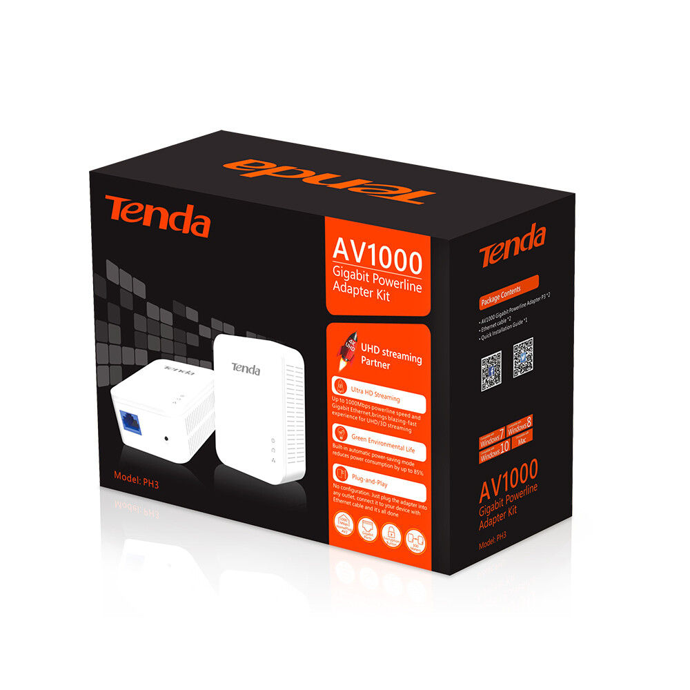 Tenda AV1000 Gigabit Powerline Adapter Kit PH3