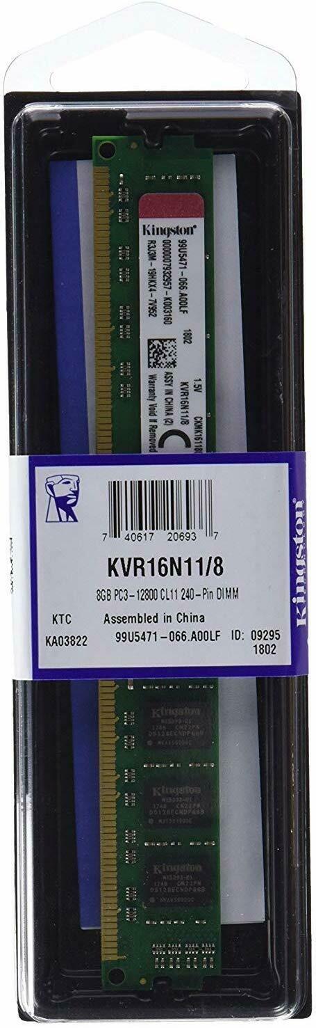 Kingston KVR16N11/8 8 GB 1600 MHz DDR3 Non-ECC CL11 240-Pin DIMM Value RAM Memory Module, 1.5 V