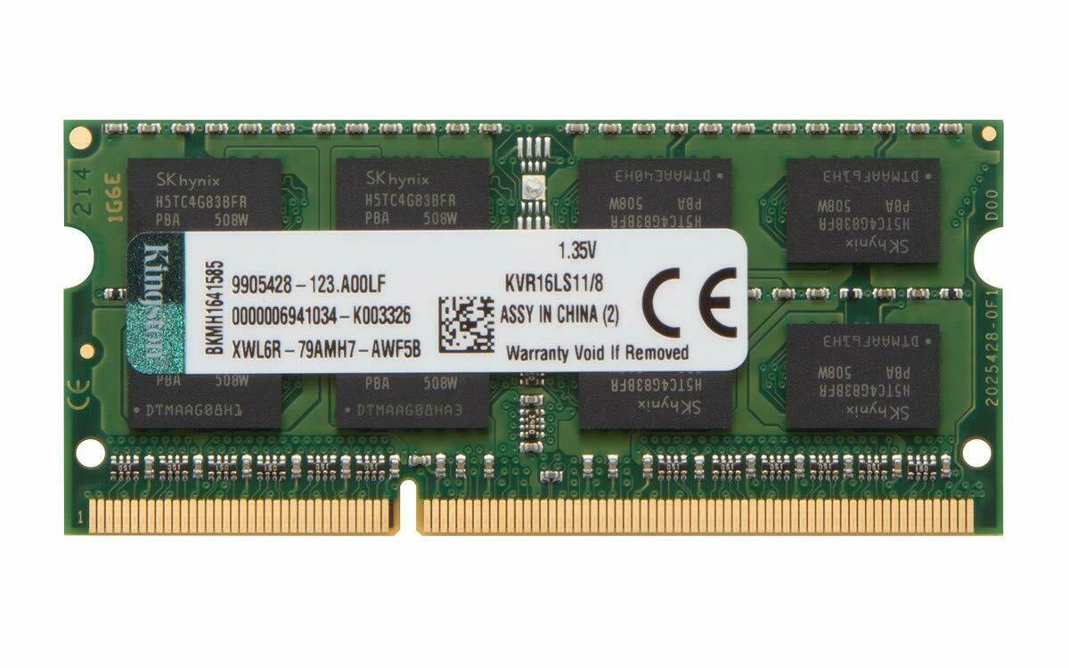 Kingston Technology 8GB 1600MHz DDR3L (PC3-12800) 1.35V Non-ECC CL11 SODIMM Intel Laptop Memory KVR16LS11/8