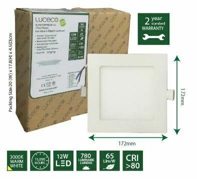 Luceco 12W LED  Eco Square Edgelit Luxpanel ELPS17W78s30-1A