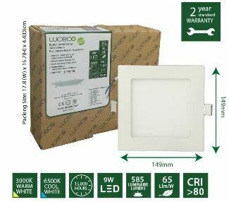 Luceco 9W Eco Square Edgelit Luxpanel ELPS15W58S65-1A