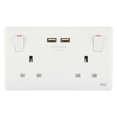 British General 2-Gang 13Amp Switched Socket Outlet with 2 USB (3.1A)