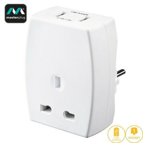 Masterplug USB (2.1mAh) Travel Adapter - EURO (TAUSBEUR2-MP)