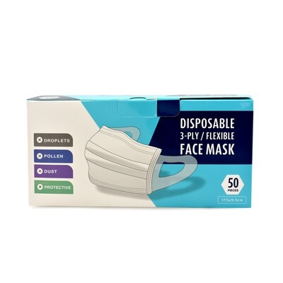 Face Mask  3 Ply Disposable Flexible 50pcs
