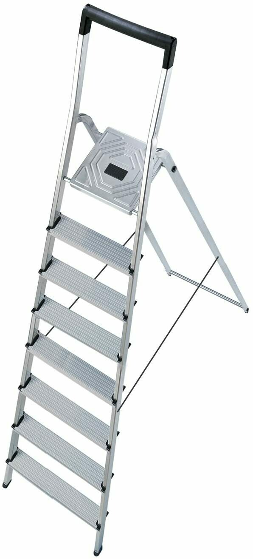 Hailo 8 Step Folding Lightweight Aluminum Platform Step Ladder  8948-001