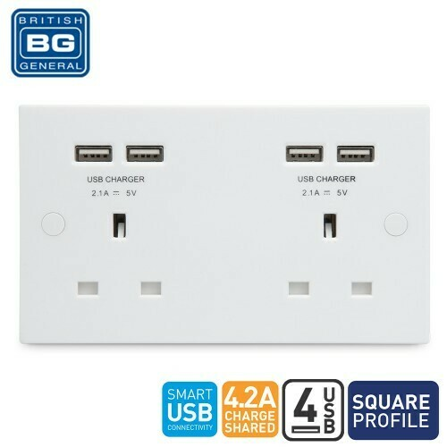 British General 2 Gang Unswitched Socket Outlet With 4 USB (4.1A) 924U44-01
