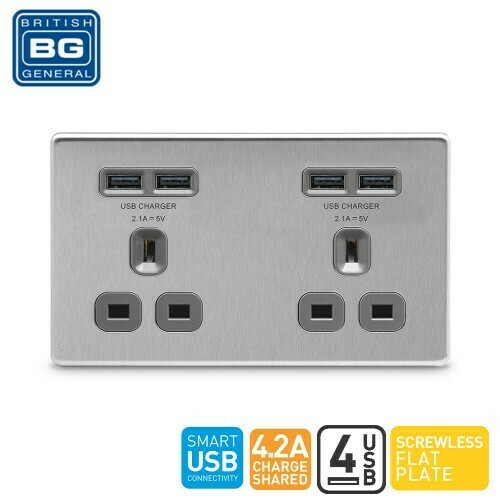 British General 2 Gang Unswitched Socket Outlet With 4 USB 4.2A Brushed Steel Grey FBS24U44G-01