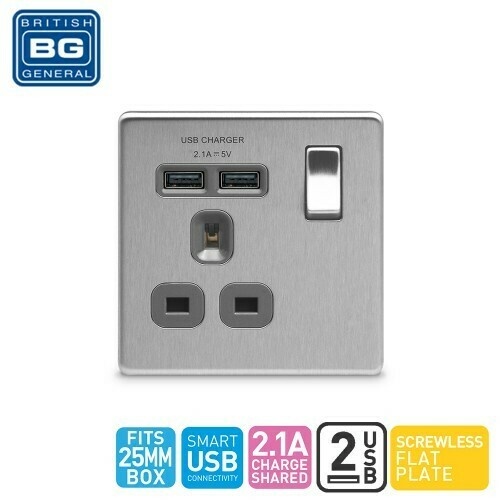 British General Single Switched Socket Outlet With 2 USB (2.1A) FBS21U2G-01