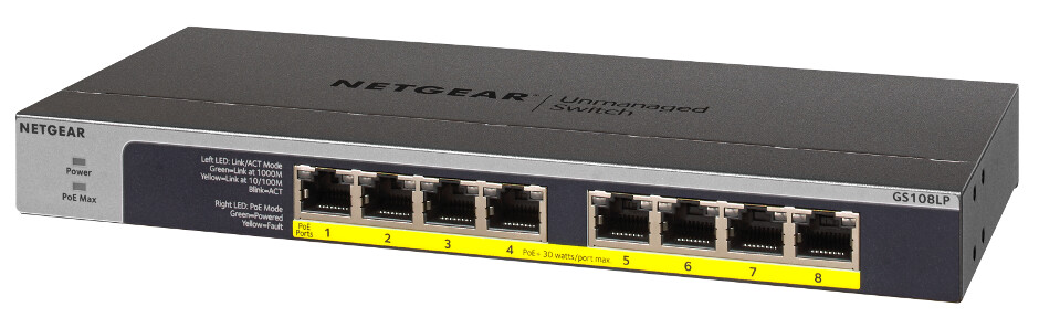 Netgear  8-Port Gigabit Ethernet Unmanaged PoE Switch GS108LP-100EUS