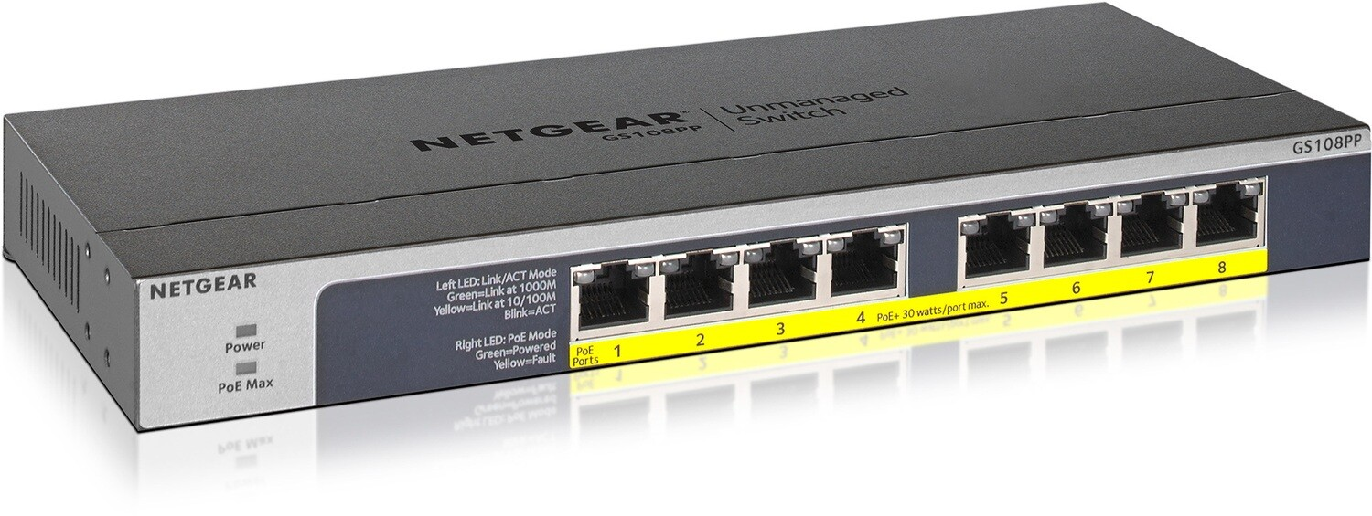 Netgear  8-Port Gigabit Ethernet Unmanaged PoE Switch  GS108PP-100EUS