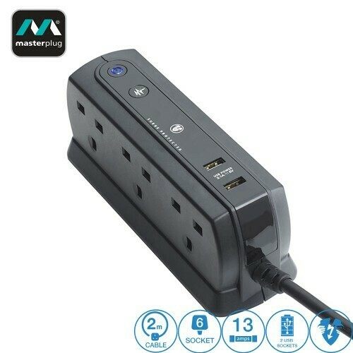 MASTERPLUG 6 GANG 2 USB (2.1A) SURGE PROTECTOR 2 METER EXTENSION LEADS