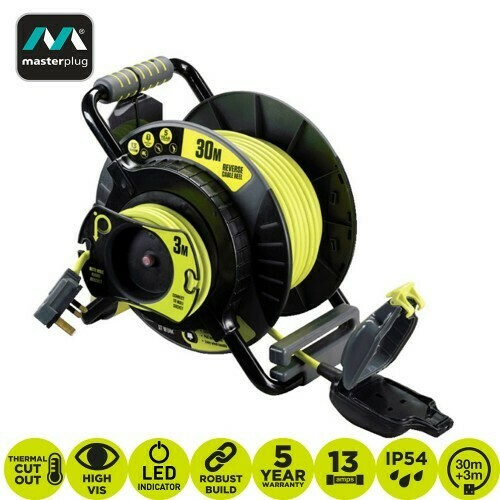 MASTERPLUG PRO-XT 30+3 METER ANTI TWIST REVERSE CABLE REEL (OATRU3013FL3IP-PX)