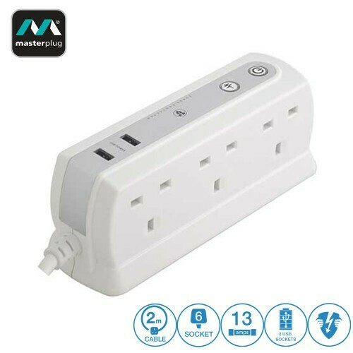 MASTERPLUG 6 GANG 2 USB (2.1A) SURGE PROTECTOR 2 METER EXTENSION LEADS GLOSSY WHITE (SRGDU62PW2-MY)