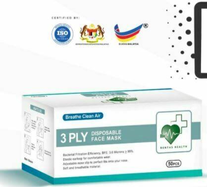 [Rentas Health] 3 PLY Disposable Face Mask Adult 50 pcs per Box