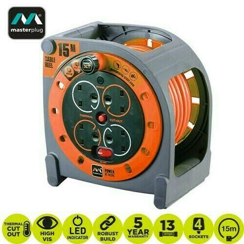 Masterplug Pro-XT 15 Meter 4 Gang Case Reel Orange HMU15134SL-PX