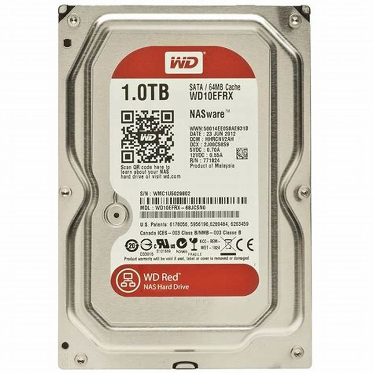 "Western Digital 3.5"" Red NAS 1TB Internal Hard Drive WD10EFRX"