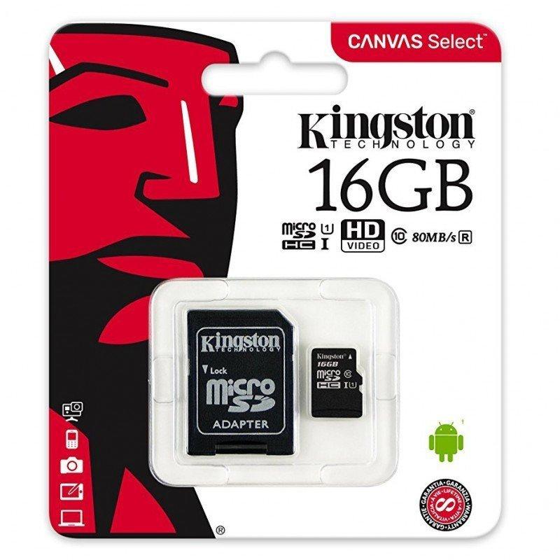 Kingston Canvas Select Class 10 UHS-I U1 microSDHC 16GB